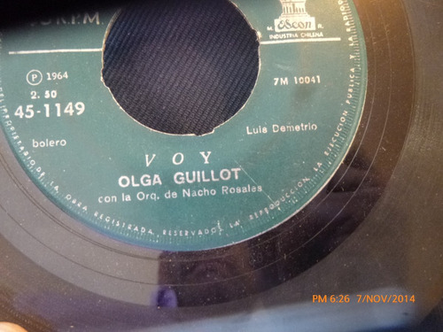 vinilo single de olga guillot -- copa de vino ( s136