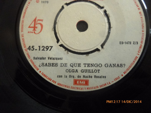 vinilo single de olga guillot - es que estas enamorado( a109