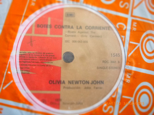 vinilo single de olivia newton john- botes contra ( i29