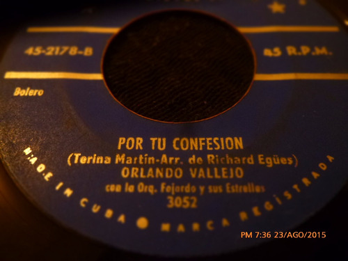 vinilo single de orlando vallejo --por tu confesion ( n18