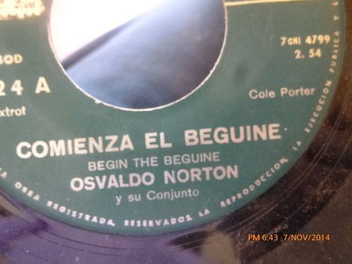 vinilo single de osvaldo norton --la leyenda del beso ( a80