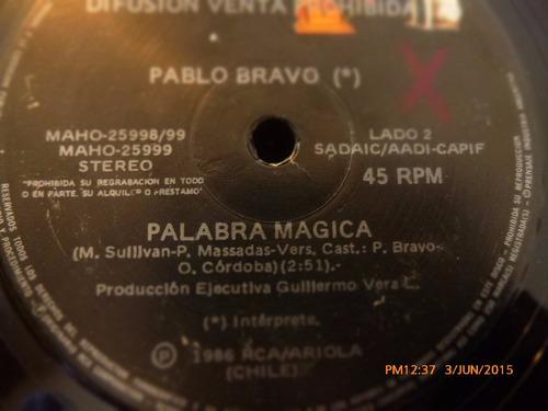 vinilo single de pablo bravo  -palabra magica ( h57