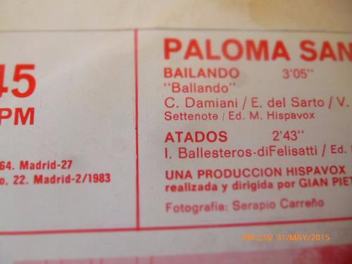 vinilo single de  paloma san basilio  -- bailando    ( h144
