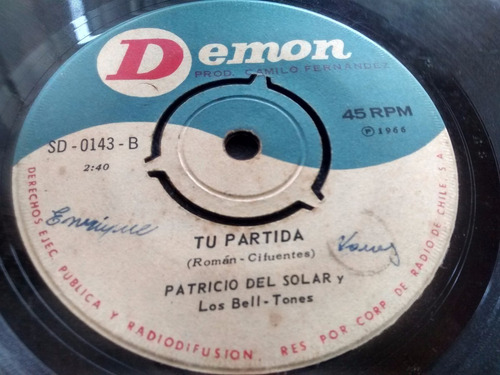vinilo single de patricio del solar  -tu partida ( s118