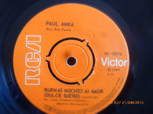 vinilo single de paul anka -- feliz  ( q1
