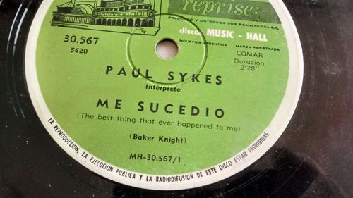 vinilo single de paul sykes - me sucedio ( c58