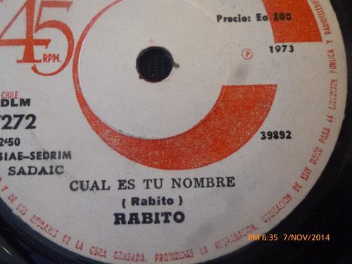 vinilo single de rabito -- cual es tu nombre( s95