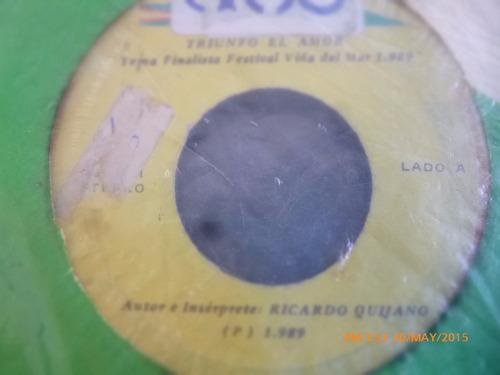 vinilo single de ricardo quijano  --  triunfo al amor ( h137