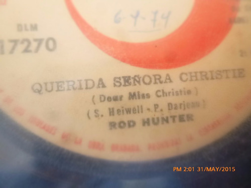 vinilo single de rod hunter  - querida señora christ  ( h76