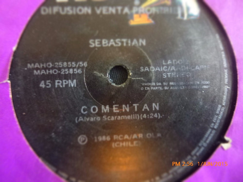 vinilo single de sebastian  -- comentan(  h99