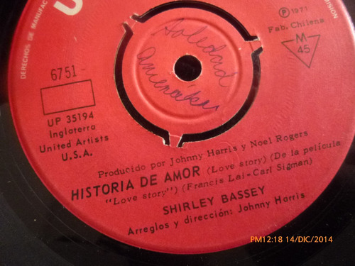 vinilo single de shirley bassey  --historia de amor( a143