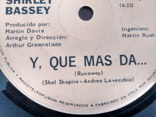 vinilo single de shirley  bassey -  natali ( e65