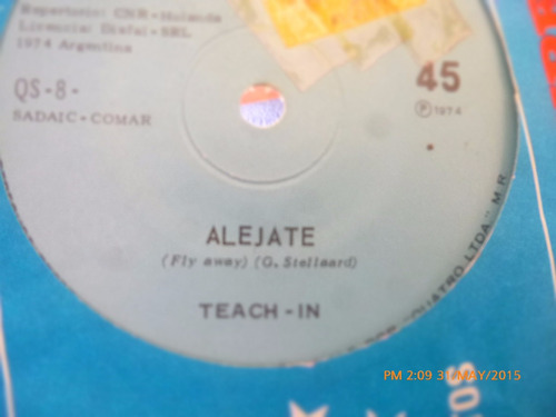 vinilo single de teach - in   alejate  ( h80