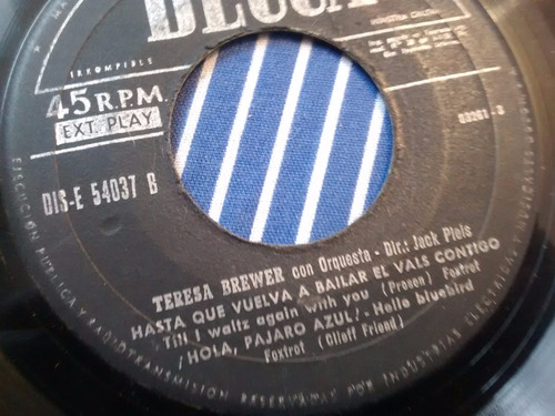 vinilo single de teresa brewer - hola pajaro azul ( k42