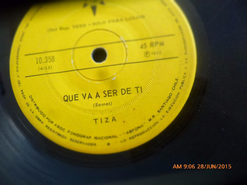 vinilo single de tiza -- juventud  ( n96