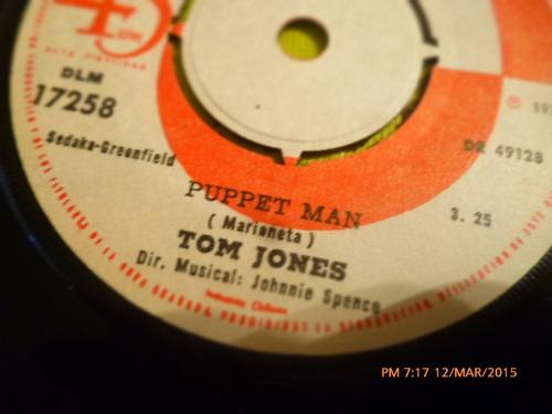 vinilo single - de  tom jones -  puppet man ( i51