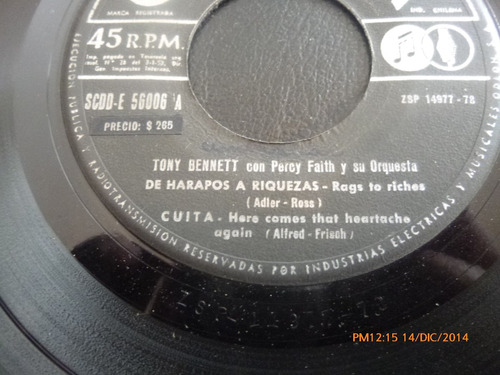 vinilo single de tony bennette --cuita( s128