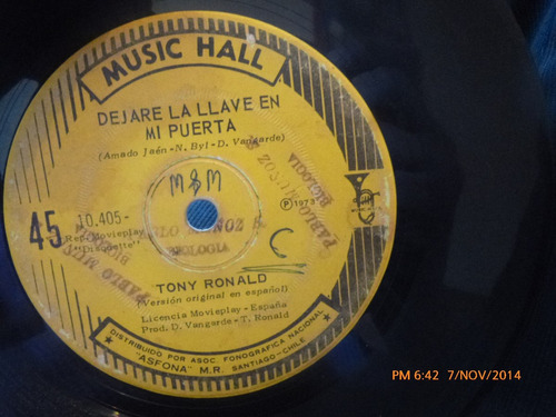 vinilo single de tony ronald --dejame la llave( a85