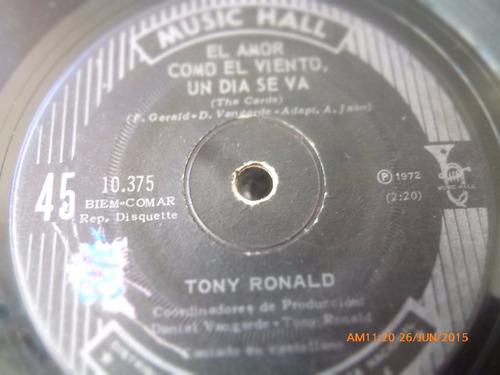 vinilo single de tony ronald --el amor como el    -( n137