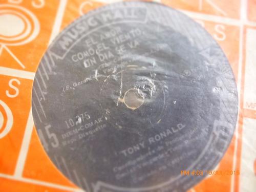 vinilo single de tony ronald - el amor como el viento ( r144
