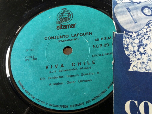 vinilo single del conjunto lafquen viva chile ( v -74