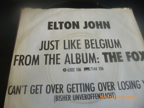 vinilo single elton john  //jus like belgiu ( i149