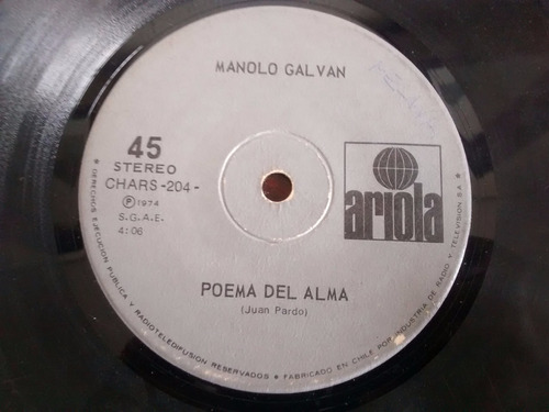 vinilo single manolo galvan  - poema del alma ( p59
