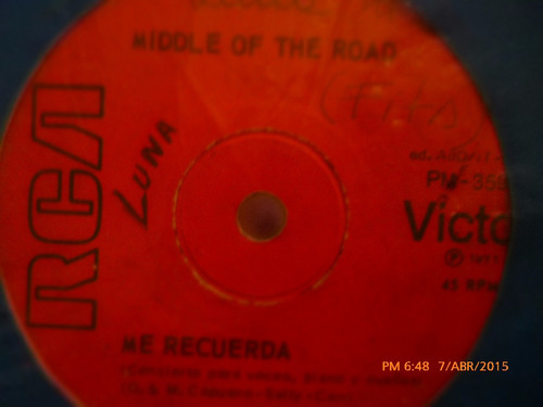 vinilo single  - middle of the road -- me recuerda( a29