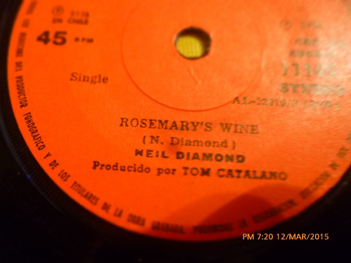 vinilo single  - niel diamond -rosemary ( i37