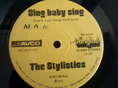 vinilo  single the stylistics -- sing baby sing ( q143