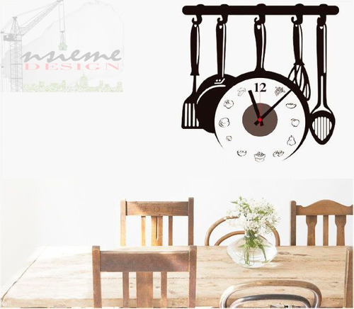 vinilo sticker 3d reloj negro pared decor arte cocina