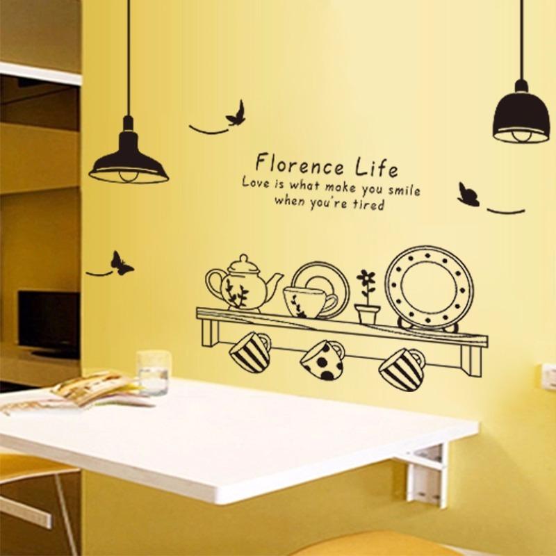 Vinilo Sticker Decor Mural Pared Cocina Vajilla Plato Rest S 50