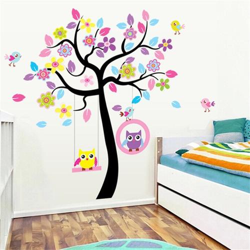 vinilo sticker decor pared arte - arbol animales leon jirafa