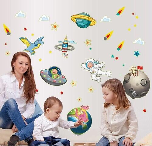 vinilo sticker decor pared - mundo espacial fosforescente
