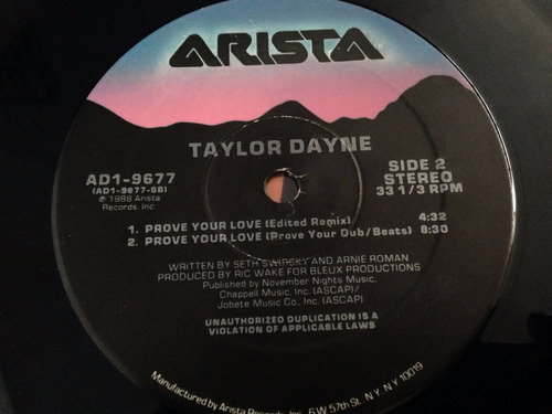vinilo taylor dayne prove your love maxi usa 1988 vg