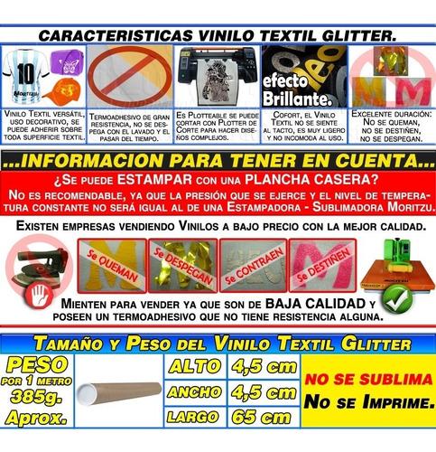 vinilo textil termotransferible plotteable glitter moritzu