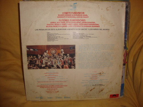 vinilo the music for unicef concert earht wind y fire bee ge