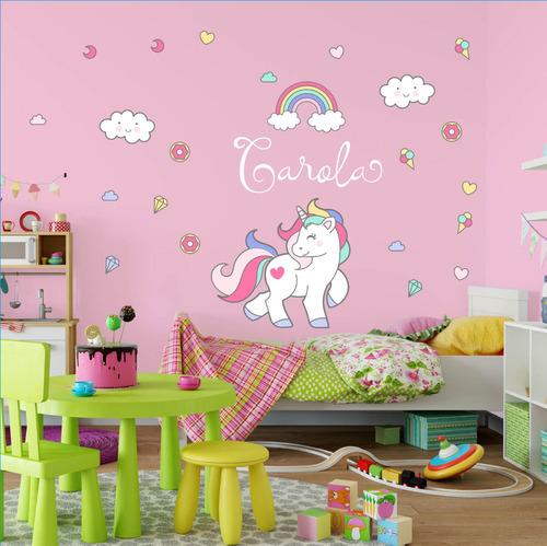 vinilo unicornio arcoiris pastel