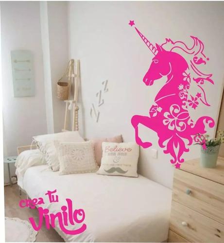 vinilo unicornio nenas habitacion pared infantil 60x40cm