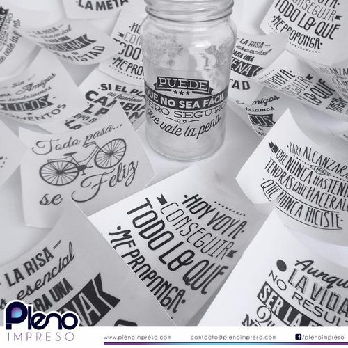 vinilos 7x7cm  botellas y frascos de vidrio transparentes