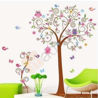 Vinilos adhesivos decorativos arbol colorido buhos for Oficinas eulen