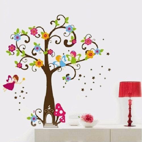 Vinilos adhesivos decorativos rbol con flores y hada for Adhesivos decorativos infantiles