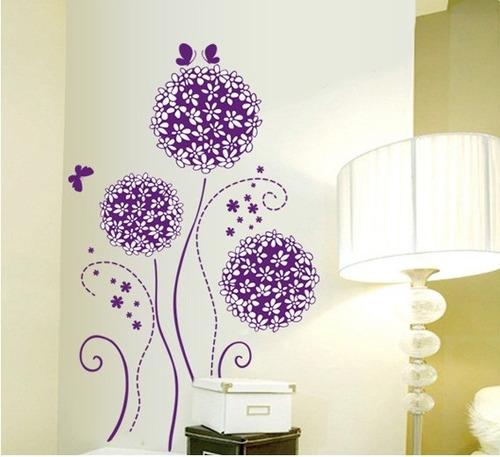 vinilos adhesivos decorativos flores lilas violeta xy8083