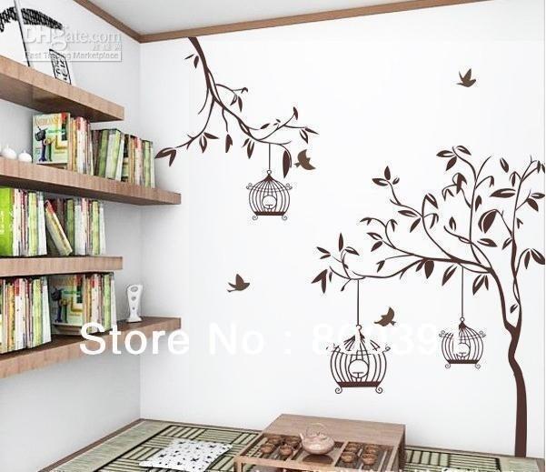 Vinilos adhesivos decorativos ramas con 3 jaulas 290 for Donde encontrar vinilos decorativos