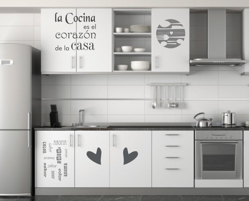 Vinilos cocinas decorativos frases nuevos env o gratis for Muebles modernos montevideo