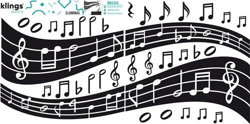 vinilos decorativos   2 laminas pentagrama, notas musicales