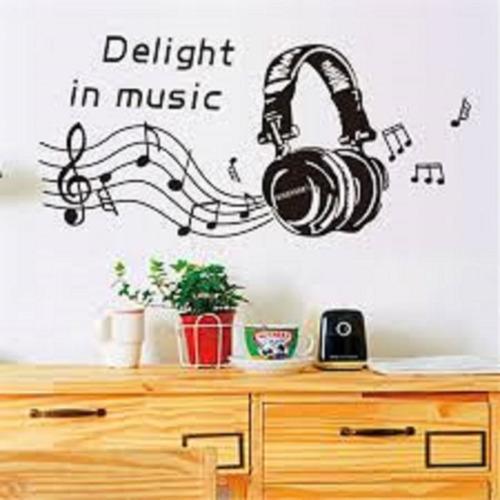 vinilos decorativos audífonos y notas musicales con leyenda
