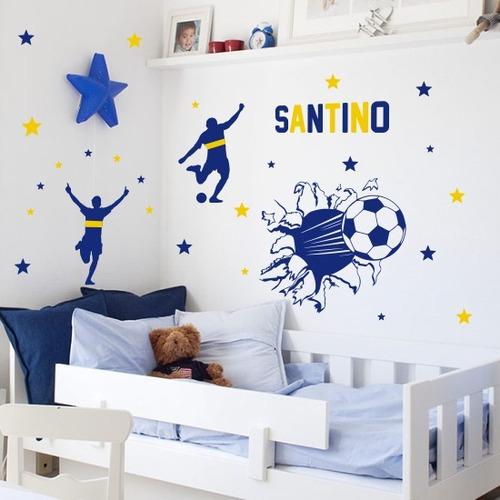 vinilos decorativos boca infantiles pared futbol pelota nene