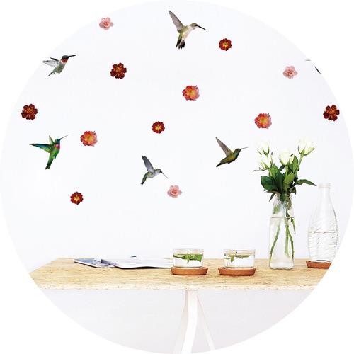 vinilos decorativos  colibri pajaritos pajaro flores aves