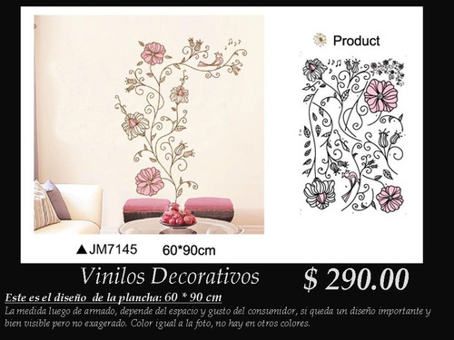 vinilos decorativos flores rosas fino tallo notas musicales